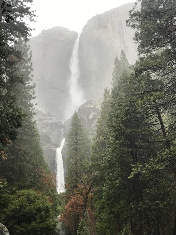 Yosemite Falls Both in Rain