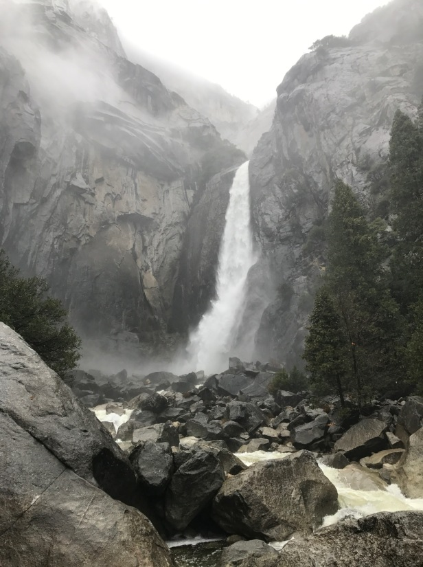 Yosemite falls bottom in rain